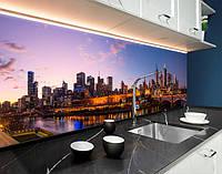 Кухонний фартух з повнокольоровим фотодруком нічне місто, міст, занепад, архітектура ПВХ панель 62 х 205 см