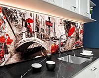 Кухонний фартух з повнокольоровим фотодруком Париж, місто вдень, чорно-біло-червоні елементи, міст ПВХ панель