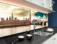 Кухонний фартух з фотодруком Лондон, міст, Біг-Бен, Англія, місто вдень, архітектура ПВХ панель 62 х 205 см