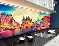 Кухонний фартух замінник скла ратуша, вечірні вулиці, архітектура ПВХ панель 62 х 205 см (cd151-5)