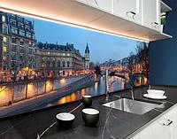 Стінова панель з фотодруком вечірнє місто, європа, мости, архітектура на самоклеючій плівці або ПВХ панель