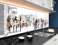 Кухонний фартух Париж, малюнок, люди, архітектура ПВХ панель 62 х 205 см (cd154-5)