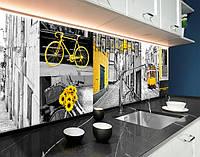 Кухонний фартух Лісабон, жовтий акцент, вулиці, трамваї, велосипеди ПВХ панель 62 х 205 см (cd156-5)