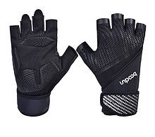 Перчатки для тренажерного зала Boodu с поддержкой запястий безпалые черные мужские женские