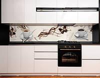 Стінова панель для кухні кава, метелики, абстракція на самоклеючій плівці або ПВХ панель Самоклейка 60 х 250