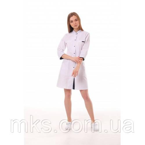 Медичний халат жіночий Пекін білий-темно/синій