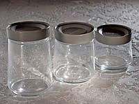 Набір банок для сипких продуктів «Jar SWING» (0,5 л,0,75 л,1 л) з сірими кришками.