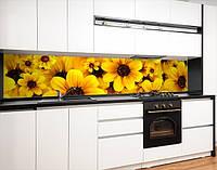 Виниловая скинали на кухонный фартук цветы желтые, с защитной ламинацией, 60 х 200 см.
