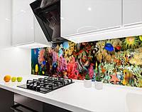 Наклейка вінілова на кухонний фартух з морськими глибинами, із захисною ламінацією 60 х 250 см