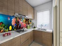 Наклейка на кухонний фартух з морськими глибинами, із захисною ламінацією 65х250 см