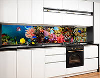 Вінілова наклейка на кухонний фартух з морськими глибинами, із захисною ламінацією 60 х 300 см