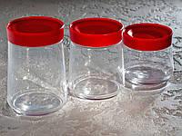Набір банок для сипких продуктів «Jar SWING» (0,5 л,0,75 л,1 л) з червоними кришками.