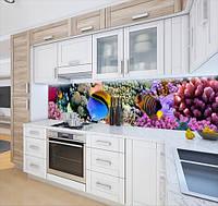 Вінілова наклейка на кухонний фартух з морською флорою, із захисною ламінацією, 60 х 200 см.