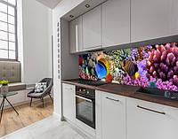 Наклейка на кухонний фартух з морською флорою, із захисною ламінацією 60 х 300 см