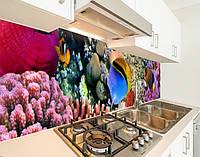 Вінілова наклейка на кухонний фартух з морською флорою, із захисною ламінацією 65 х 300 см