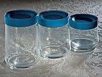 Набір банок для сипких продуктів «Jar SWING» (0,5 л,0,75 л,1 л) з блакитними кришками.