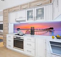 Наклейка вінілова на кухонний фартух будиночки на воді, із захисною ламінацією, 60 х 200 см.