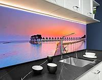 Наклейка на кухонний фартух будиночки на воді, із захисною ламінацією 60 х 250 см