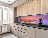Вінілова наклейка на кухонний фартух будиночки на воді, із захисною ламінацією 65х250 см