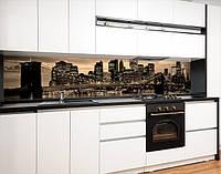 Наклейка вінілова на кухонний фартух бруклінський міст в променях вогнів, із захисною ламінацією, 60 х 200 см.