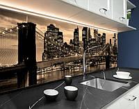 Вінілова наклейка на кухонний фартух бруклінський міст в променях вогнів, із захисною ламінацією 65х250 см