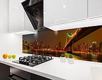 Кухонний фартух вініловий вогні нічних мостів, з захисною ламінацією, 60 х 200 см.