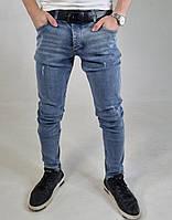Крутые зауженные модные джинсы мужские классические голубой Джинсы для парней S,M, L, XL 32,33,34,36,38,40,42