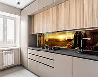 Наклейка вінілова на кухонний фартух винні келихи і бочки, із захисною ламінацією, 60 х 200 см.