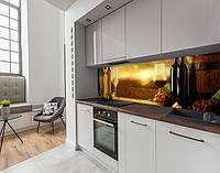 Наклейка на кухонний фартух винні келихи і бочки, із захисною ламінацією 60 х 250 см