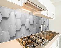 Наклейка вінілова на кухонний фартух 3д стіна з кладкою цегли, із захисною ламінацією 65 х 300 см