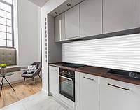 Наклейка вінілова на кухонний фартух 3д хвилі під гіпс, із захисною ламінацією 65 х 300 см