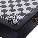 Шахи, покер 2 в 1 набір настільних ігор дерев'яні W2624,чорний, фото 2