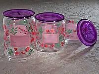 Набір банок для сипких продуктів «Jar Plano Iries» (0,5 л,0,75 л,1 л) з фіолетовими кришками.