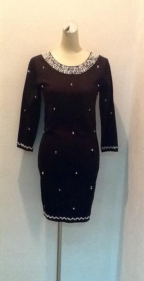 Платье короткое бренд LUX копия черное в жемчугах с длинным рукавом