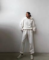 Жіночий об'ємний спортивний костюм на флісі з капюшоном, фото 3