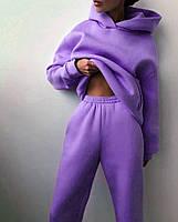 Жіночий об'ємний спортивний костюм на флісі з капюшоном, фото 4