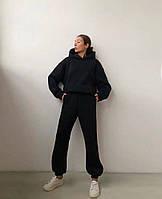 Жіночий об'ємний спортивний костюм на флісі з капюшоном, фото 6