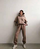 Жіночий об'ємний спортивний костюм на флісі з капюшоном, фото 7