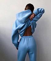 Жіночий об'ємний спортивний костюм на флісі з капюшоном, фото 8