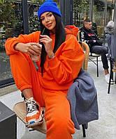 Жіночий об'ємний спортивний костюм на флісі з капюшоном, фото 9