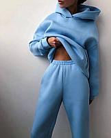 Жіночий об'ємний спортивний костюм на флісі з капюшоном, фото 10