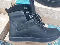 Ботинки кожаные черные на меху подростковые