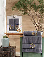 Набір рушників банне і лицьовий в подарунковій упаковці Тигр символ 2022 року сірий