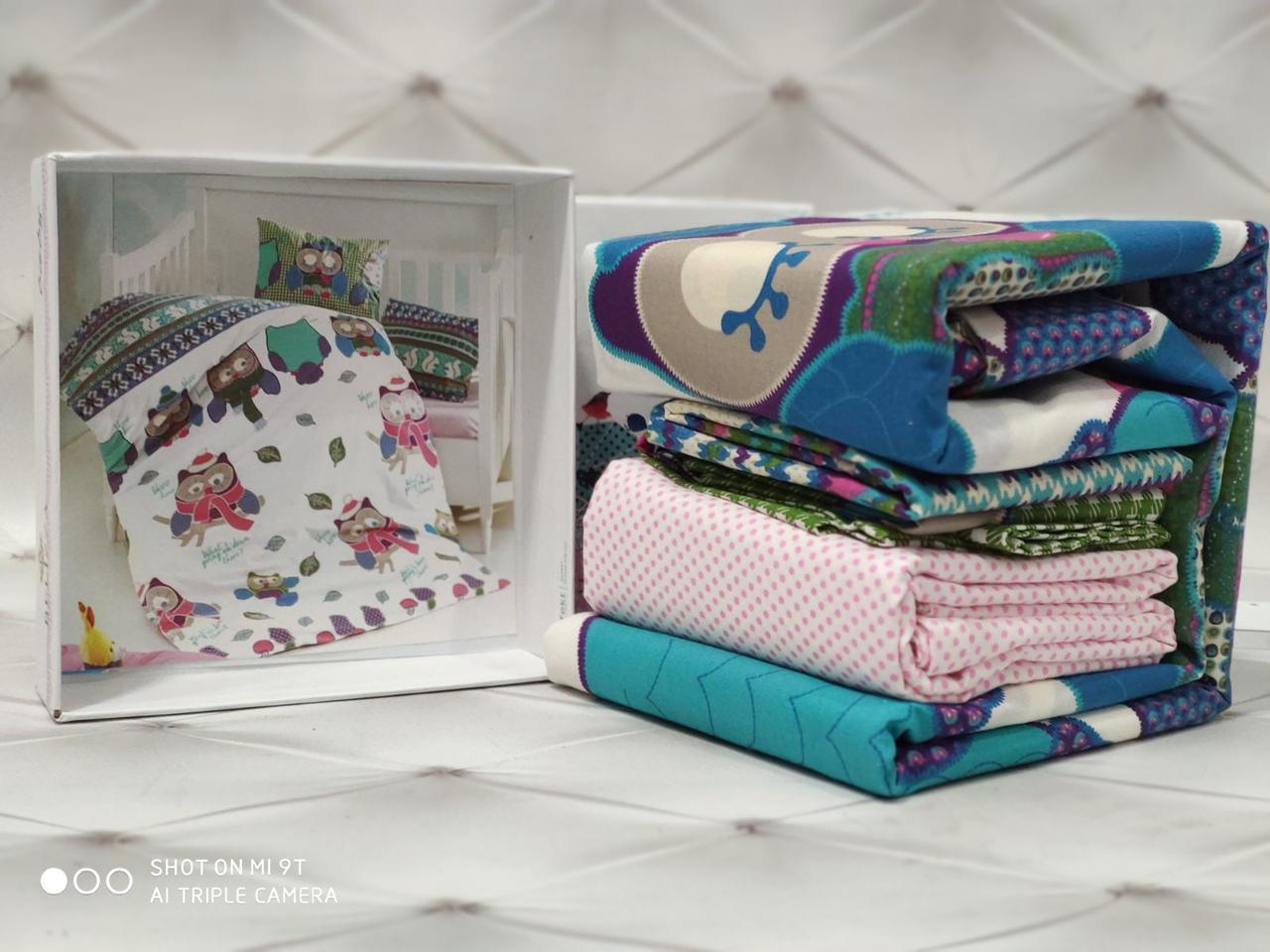 Дитяче постільна білизна для немовлят у ліжечко бавовна Сови