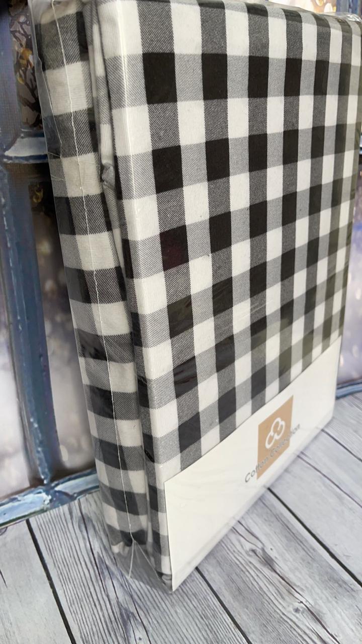 Фланелева простирадло на гумці 160х200см і 2 наволочки Туреччина Cotton Collection клітка