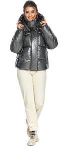 Куртка женская модная цвет темное серебро модель