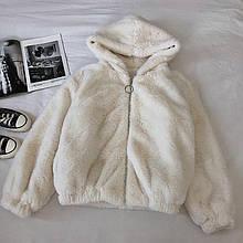 Жіноча куртка, еко-хутро кролика, р-р універсальний 42-46 (молоко)