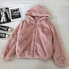 Жіноча куртка, еко-хутро кролика, р-р універсальний 42-46 (пудра)