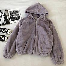 Жіноча куртка, еко-хутро кролика, р-р універсальний 42-46 (сірий)