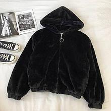 Жіноча куртка, еко-хутро кролика, р-р універсальний 42-46 (чорний)